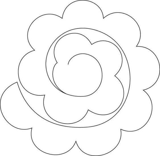 rosas de papel - molde simples