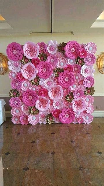 rosas de papel - mural de rosas de papel