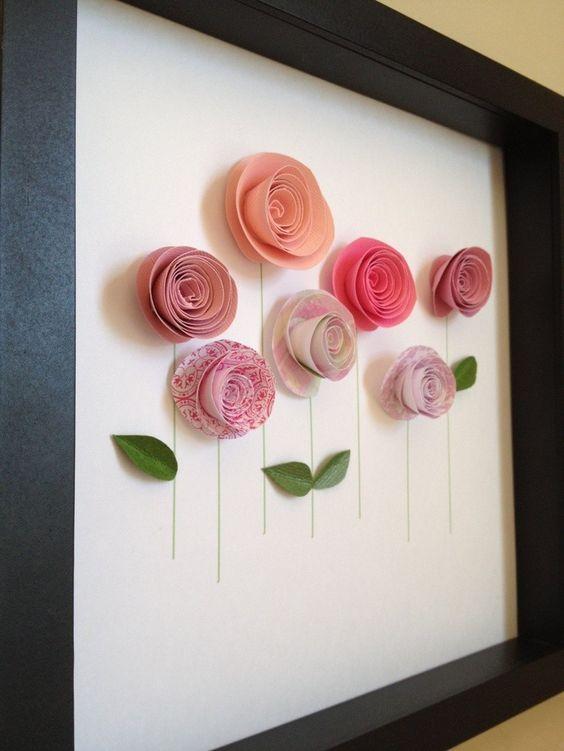 rosas de papel - quadro com rosas de papel