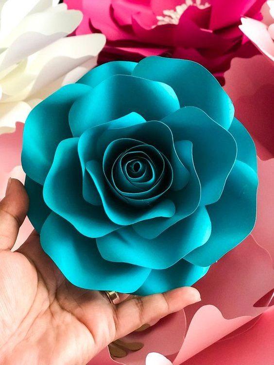 rosas de papel - rosa azul turquesa de papel