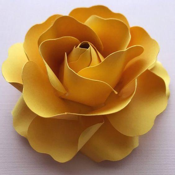 rosas de papel - rosa de papel amarelo grande