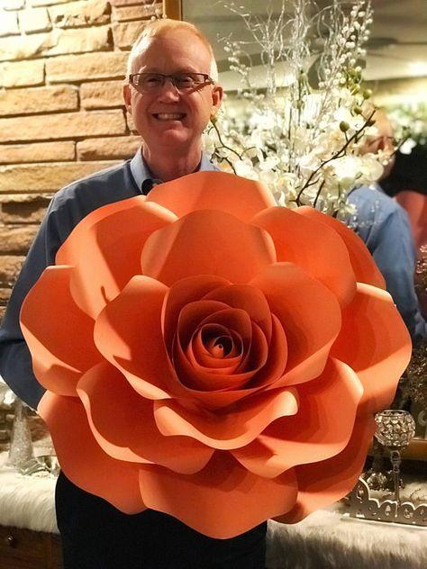 rosas de papel - rosa de papel grande laranja