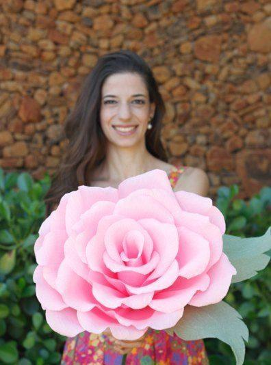 rosas de papel - rosa grande de papel rosa