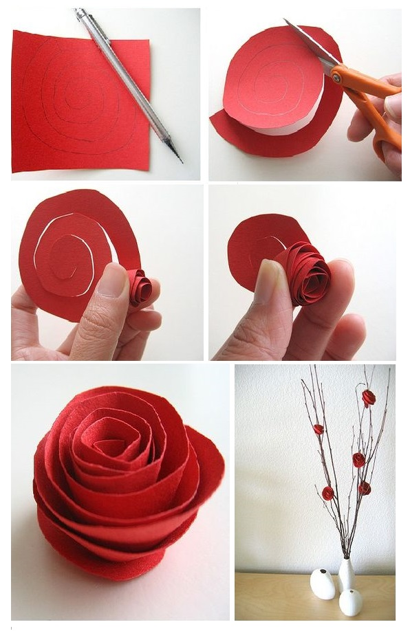 rosas de papel - rosa simples sendo feita