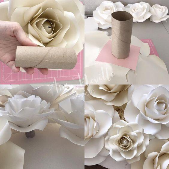 rosas de papel - rosas brancas com rolo de papel higiênico