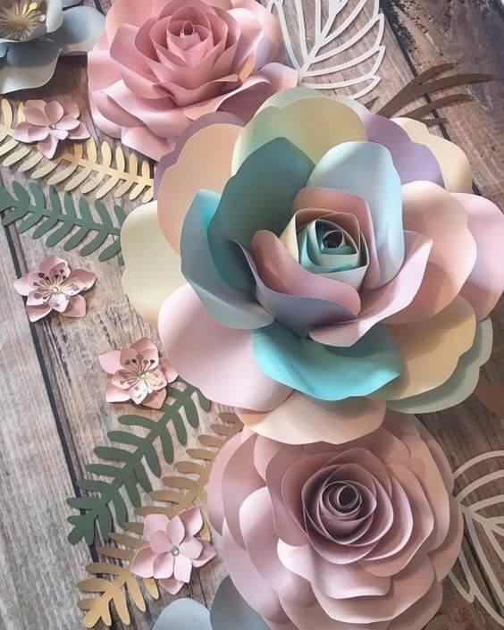 rosas de papel - rosas coloridas simples