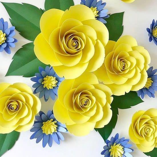 rosas de papel - rosas de papel amarelo