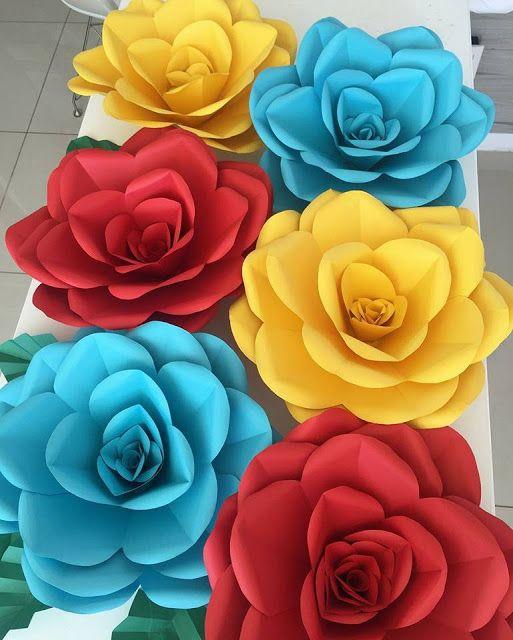 rosas de papel - rosas de papel coloridas e grandes