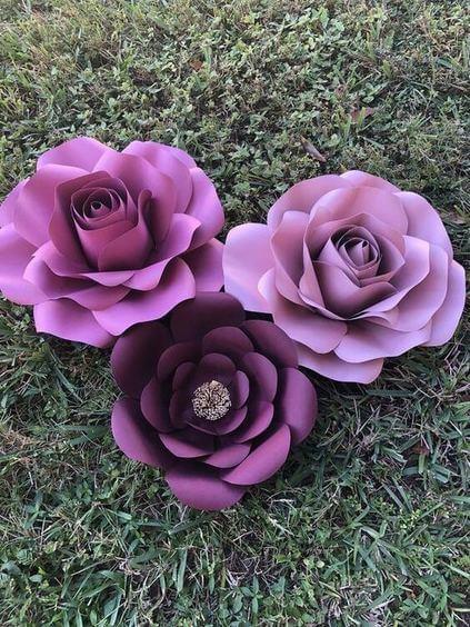 rosas de papel - rosas de papel roxo