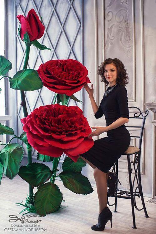 rosas de papel - rosas de papel vermelho gigantes