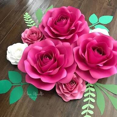 rosas de papel - rosas pink de papel