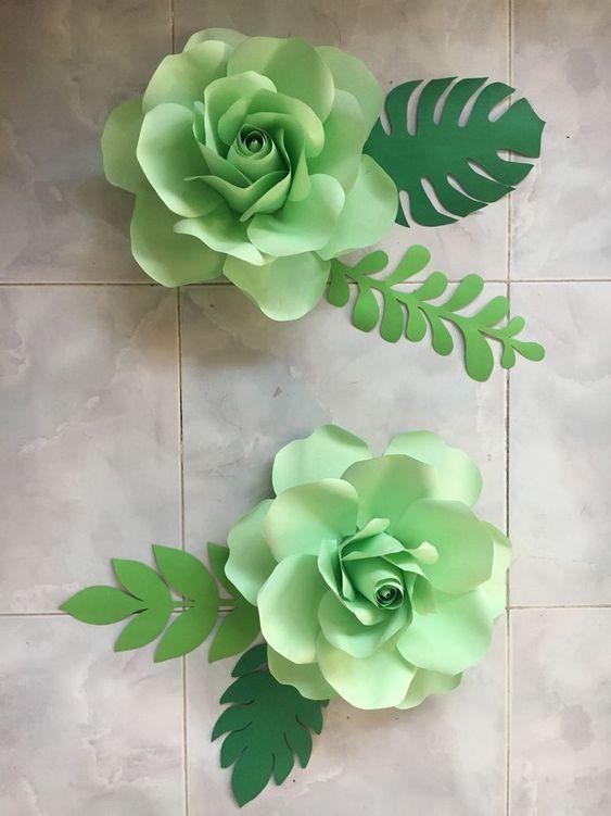 rosas de papel - rosas verdes de papel