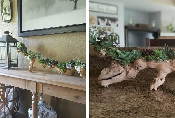 Floreira de madeira rústica encanta a decoração da sala de estar