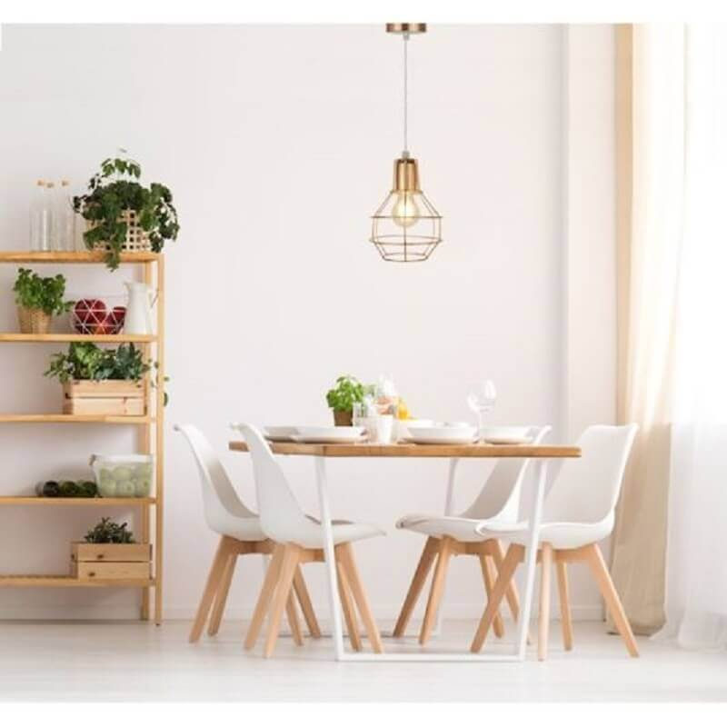 sala de jantar minimalista decorada com pendente aramado cobre Foto Pinterest