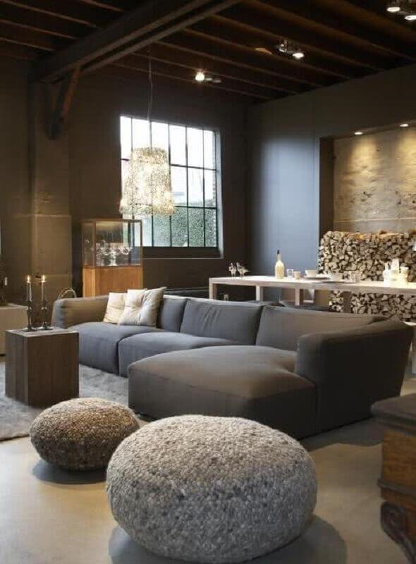 sala moderna decorada com sofá modulável Foto Pinterest