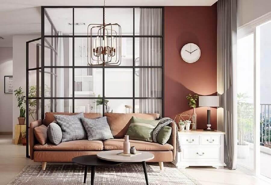 sala moderna decorada na cor terracota Foto Pinterest