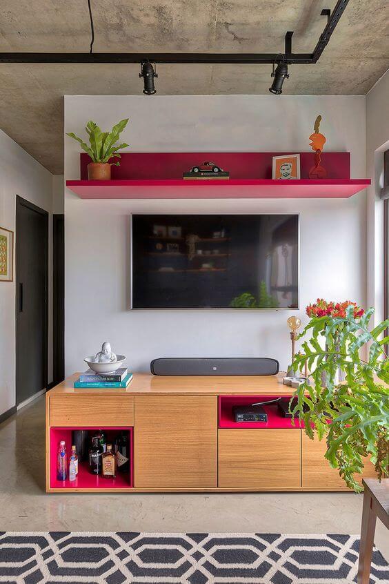Sala vermelha para casa moderna