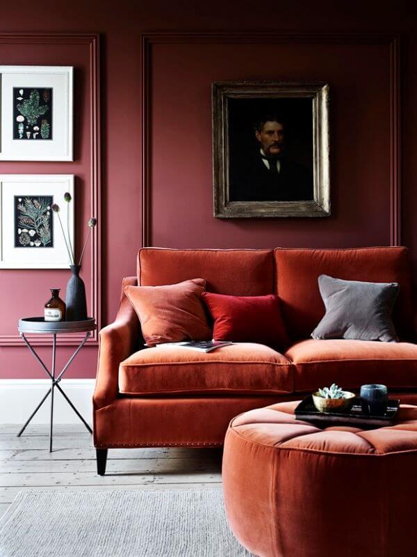Sala vermelha para decoração moderna