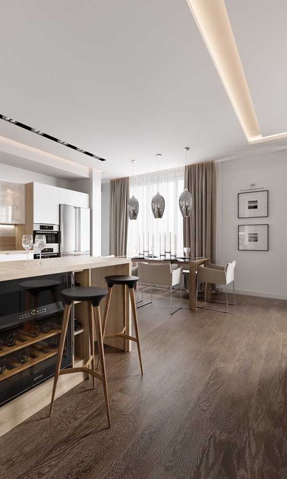 sanca de isopor - apartamento com cozinha americana