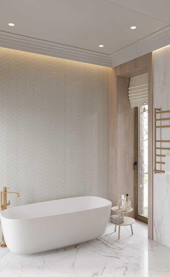 sanca de isopor - banheiro com porta de vidro