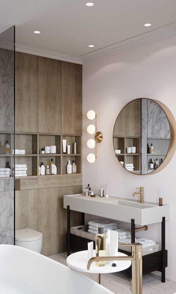 sanca de isopor - banheiro grande com armário