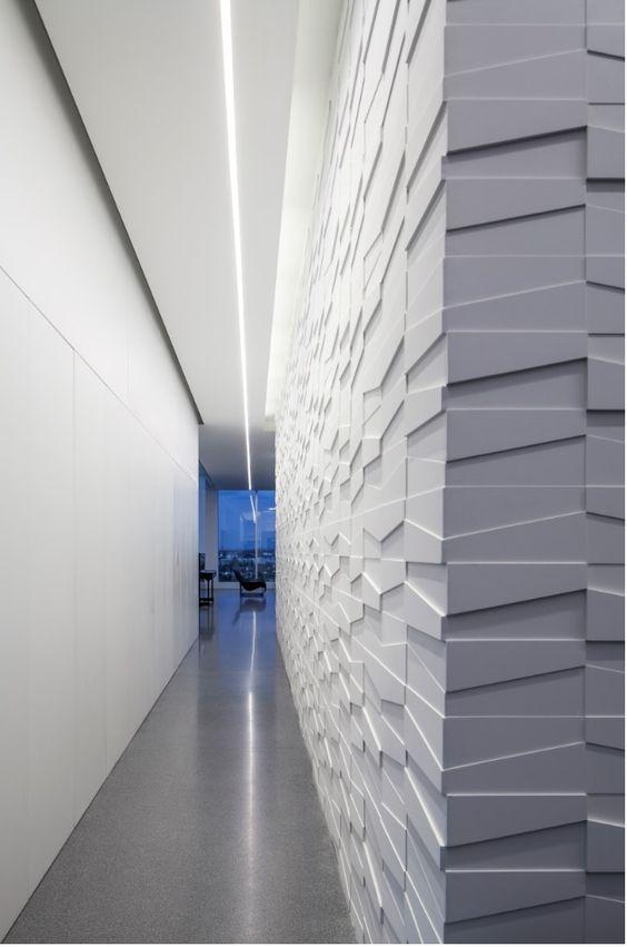 sanca de isopor - corredor com sanca e parede 3d