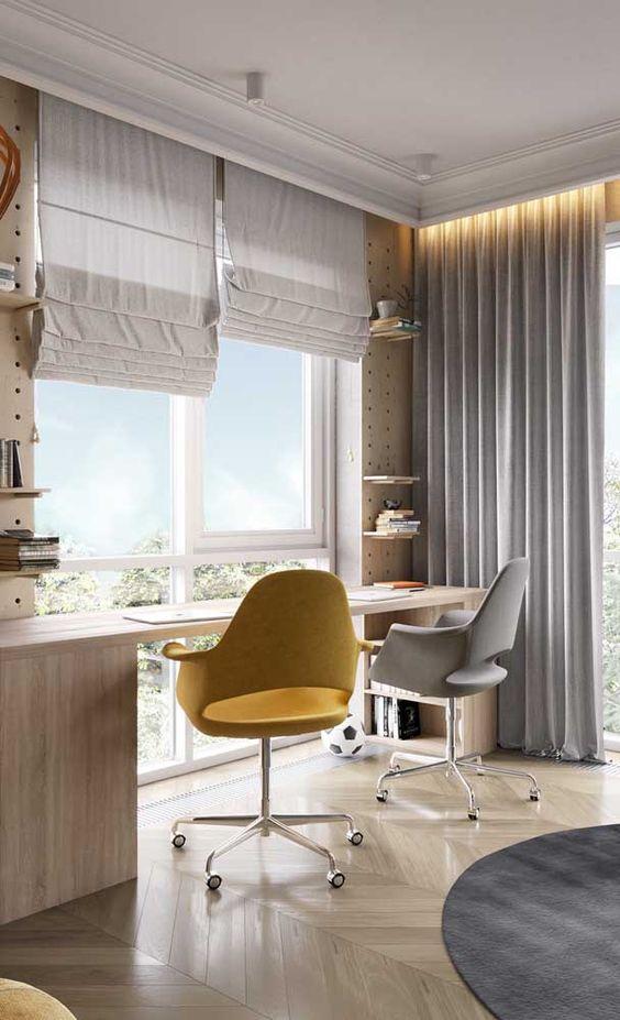 sanca de isopor - escritório grande com cortina