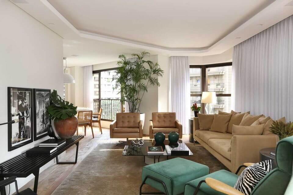 sanca de isopor - sala de estar com sanca e cortinas embutidas