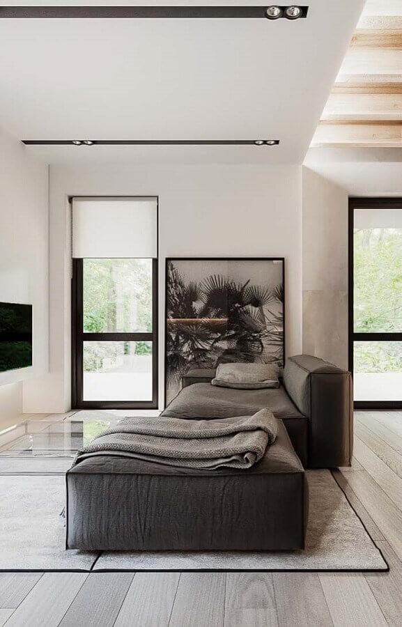 sofá cinza modulável para sala ampla moderna Foto Wood Save