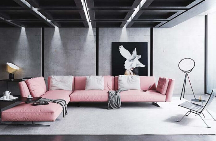 sofá com chaise rosa para decoração de sala cinza contemporânea Foto Behance