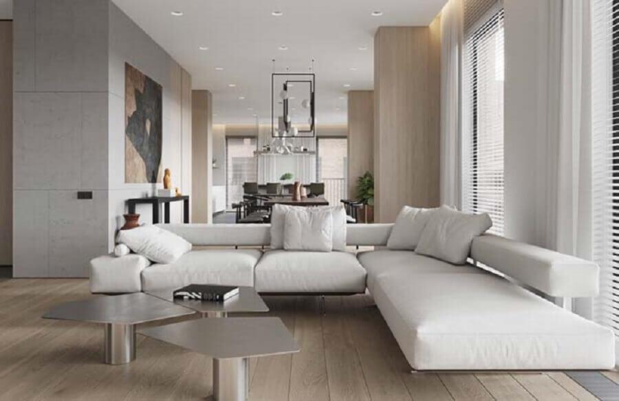 sofá de canto branco com design moderno Foto Pinterest