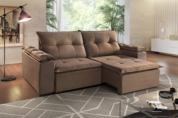 Sofá retrátil e reclinável marrom
