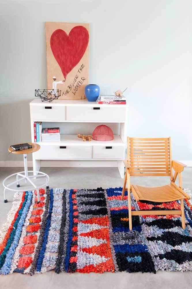 Tapete geométrico para sala de estar