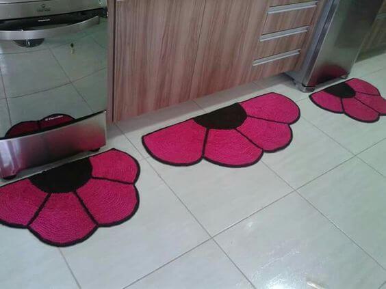 Tapete de flor frufru cor de rosa para a cozinha
