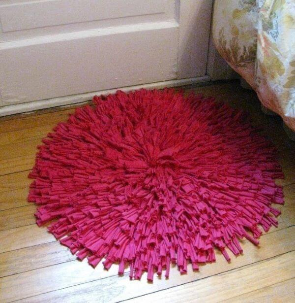 Tapete de frufru redondo cor de rosa