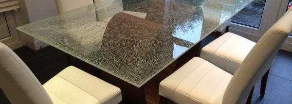 Tipos de vidro craquelado para mesa de jantar