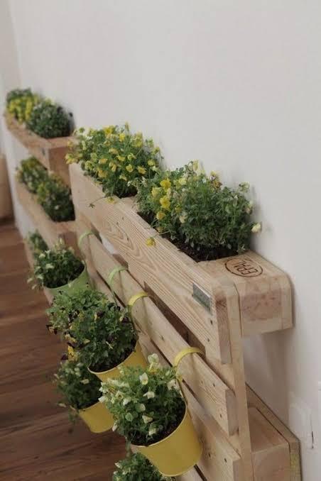Floreiras de pallet em casa