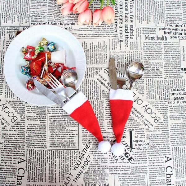 A mesa de natal fica especial com esses porta talheres