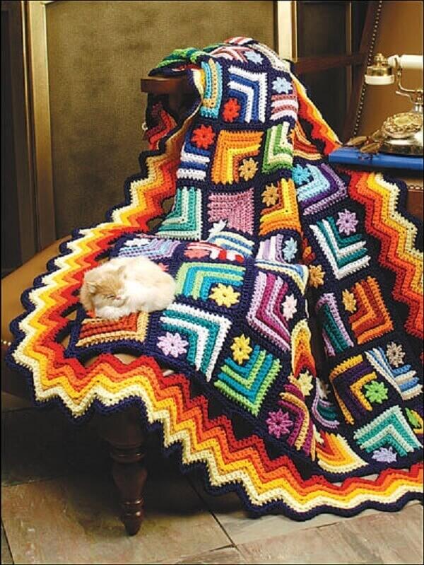 Manta de sofá feito em crochê tunisiano