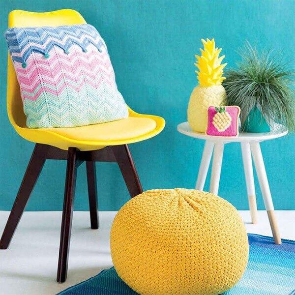 O crochê tunisiano pode fazer parte de diferentes objetos decorativos