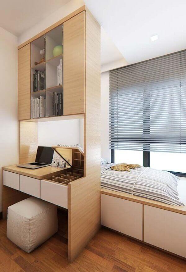 Móveis compactos e funcionais para o quarto escritório planejado