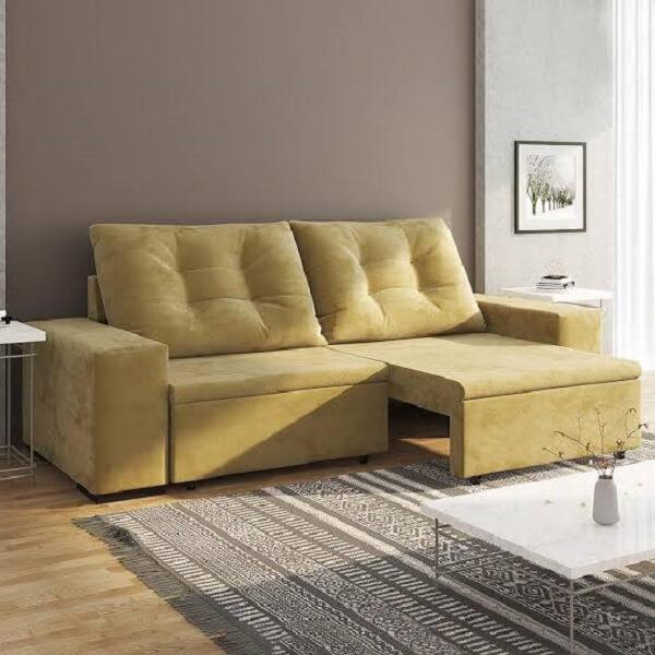 Modelo de sofá retrátil amarelo para sala de estar