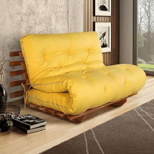 Modelo de sofá cama futon japonês amarelo