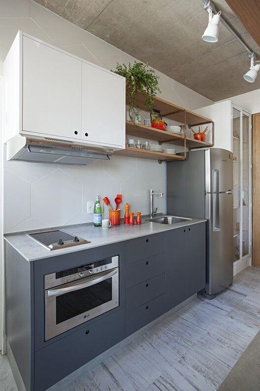 Armário de cozinha aéreo branco