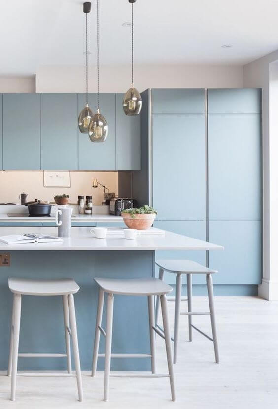 Armário de cozinha azul