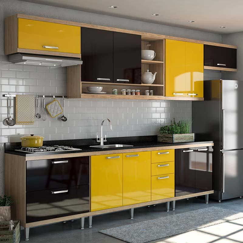 Armário de cozinha compacta em amarelo e preto