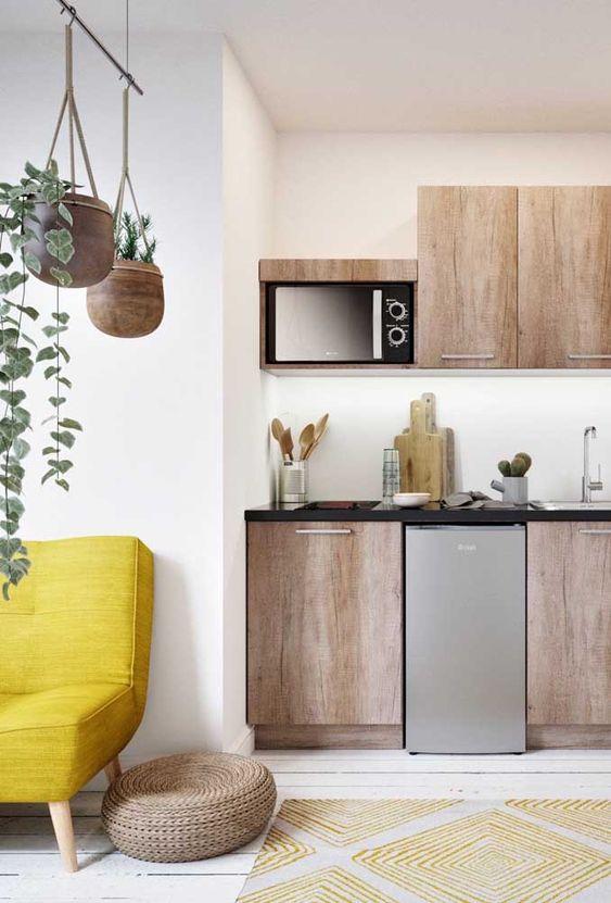 Armário de madeira para cozinha moderna