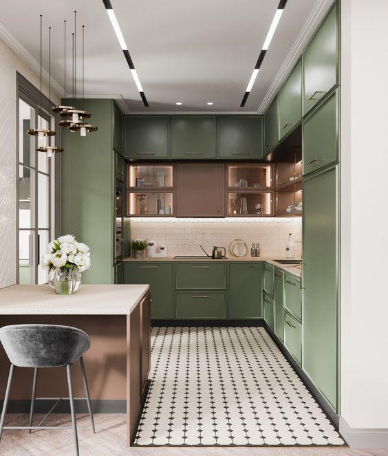 Armário de cozinha verde