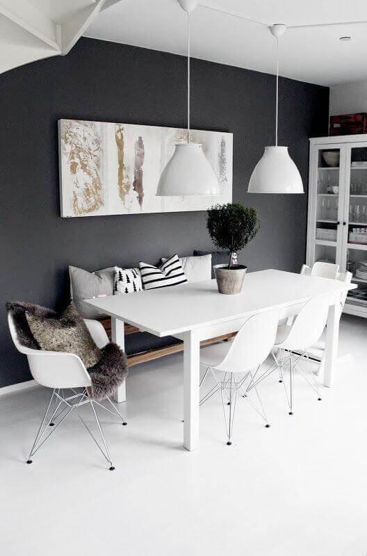 cadeira branca para sala de jantar minimalista Foto Manual da Obra