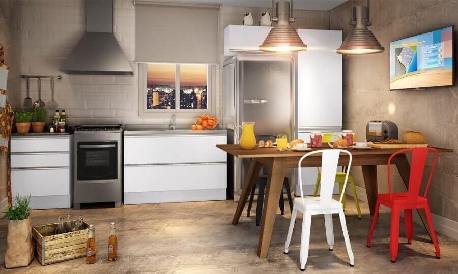 cadeira de ferro branca para cozinha Foto Pinterest